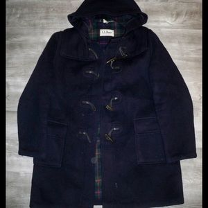 Vtg LL Bean Womens Duffle Toggle Jacket Coat XL